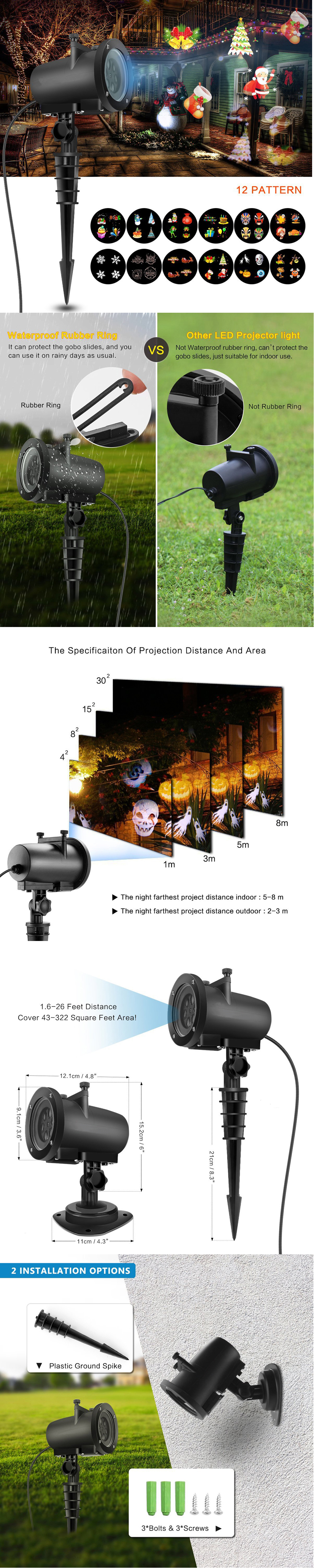LED Landscape Projector Light 6W Outdoor Indoor Lawn Light with 12 Slides Colorful for Party Holiday Decorative lamp