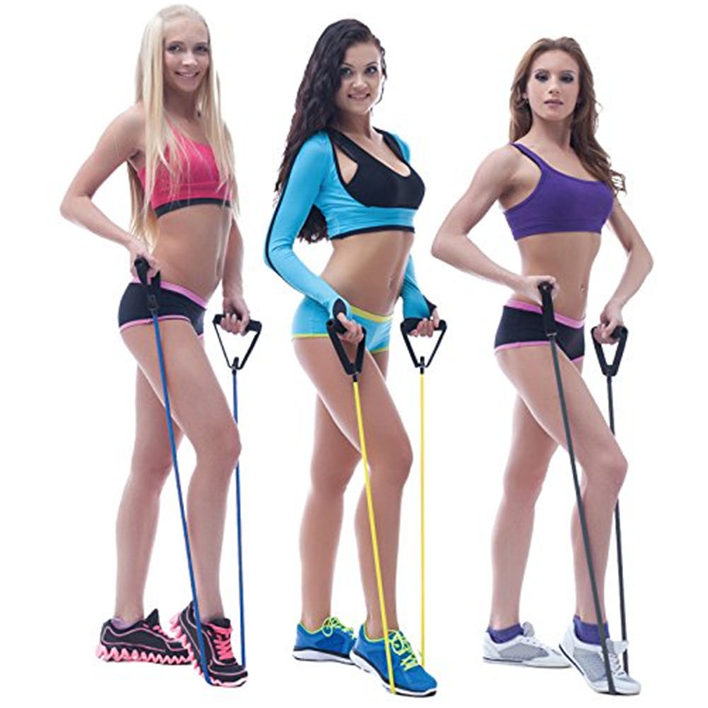 Resistance Band Exercise Tube With Door Anchor and Manual for Training/Physical Therapy/Home Workouts/Boxing Training- Blue