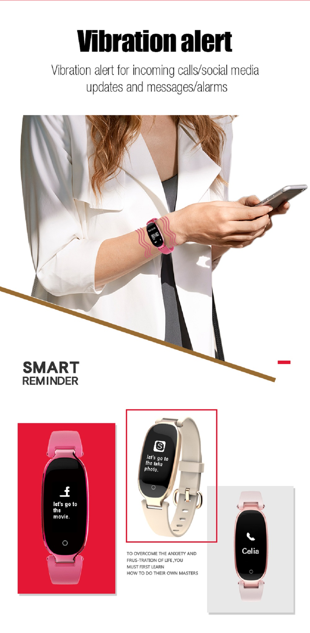 Fashion S3 Smart Band Bracelet Heart Rate Monitor Bangle Smartband Fitness Tracker Sports Wristbands for Android iOS- Apricot