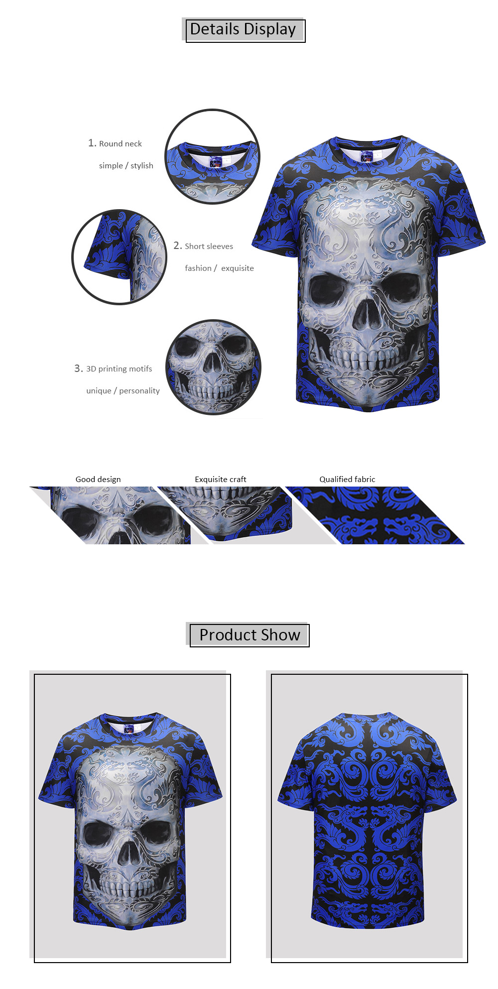 Mr 1991 INC Miss Go Men Casual T-shirt with Skull Motifs
