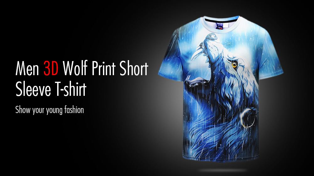 3D Wolf Print Leisure Round Neck Short Sleeve T-shirt for Men