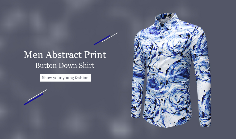 Stylish Abstract Print Long Sleeve Button Down Shirt for Men