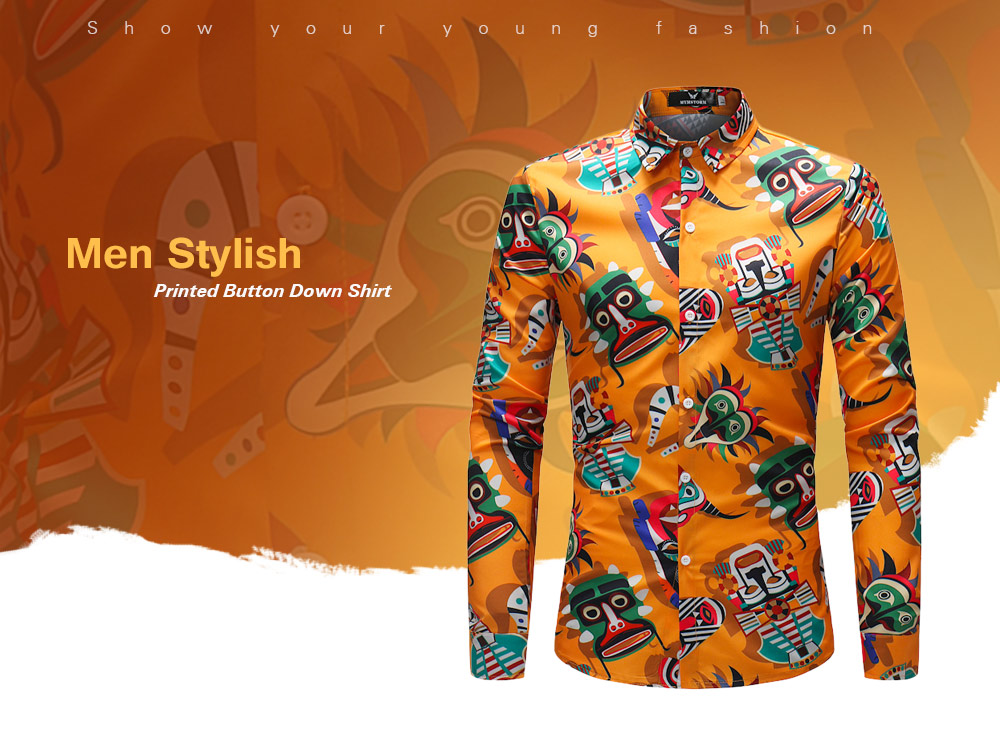 Leisure Print Long Sleeve Button Down Shirt for Men
