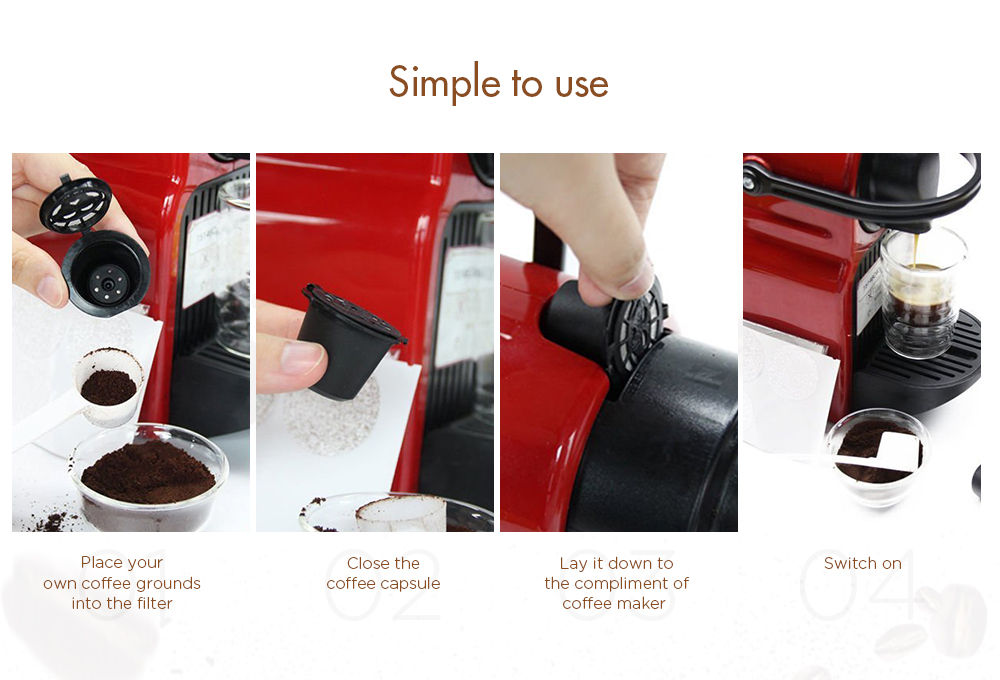 Refillable Coffee Capsule Cup Reusable Strainer for Nespresso Machine / Coffeemakers 1PC- Black 1Pc