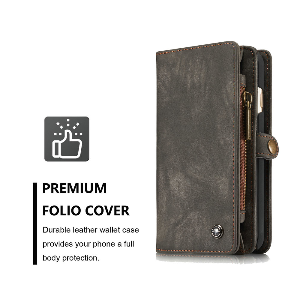 CaseMe for iPhone 6/6S Plus 5.5 inch Multifunction Wallet Leather Case with 11 Card Slots Magnetic Detachable Back Cover