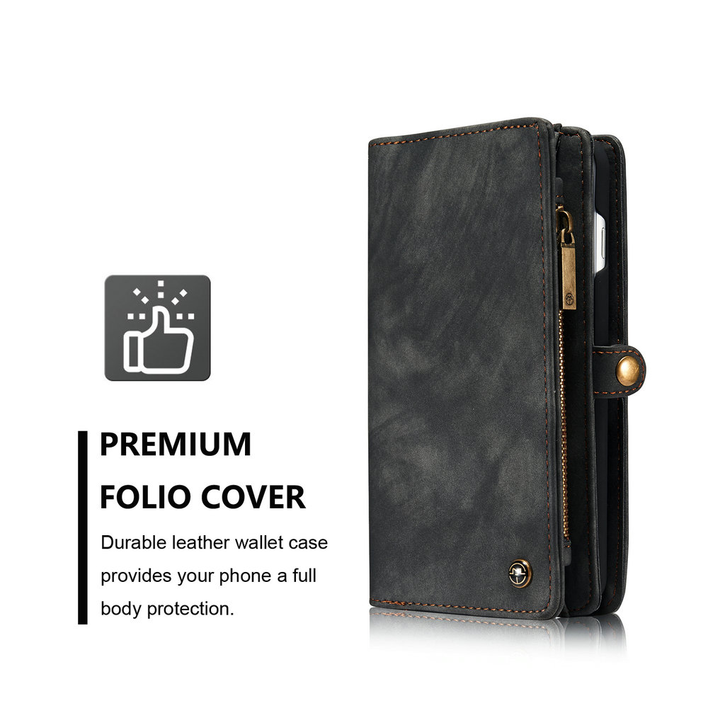CaseMe for iPhone 8 Plus/7 Plus Wallet Case with 11 Card Slots Zipper Coin Pocket Magnetic Flip PU Leather Cover