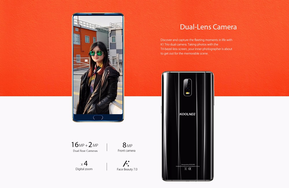 KOOLNEE K1 Trio 4G Phablet Android 7.1 6.01 inch MTK6763 Octa Core 2.0GHz 6GB RAM 128GB ROM 16.0MP Dual Rear Cameras Fingerprint Recognition Face ID