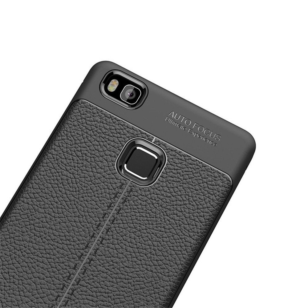 Cover Case for Huawei P9 Lite Luxury Original Shockproof Armor Soft Leather Carbon TPU- Deep Blue