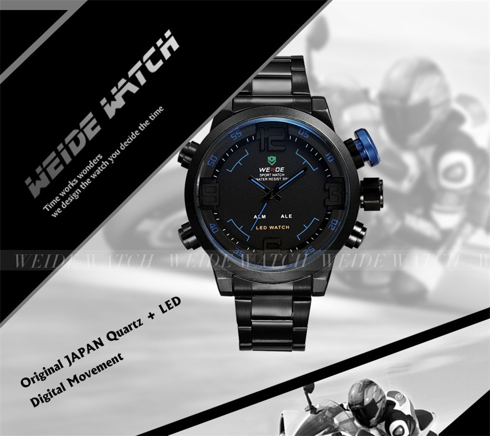 WEIDE Digital Quartz Alarm Date Backlight Multi-Functional Stainless Steel Sport Watch
