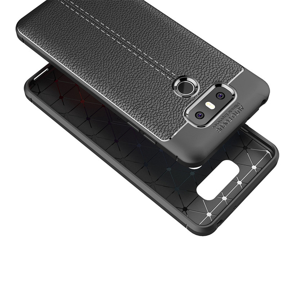 Cover Case for LG G6 Luxury Original Shockproof Armor Soft Leather Carbon TPU- Deep Blue