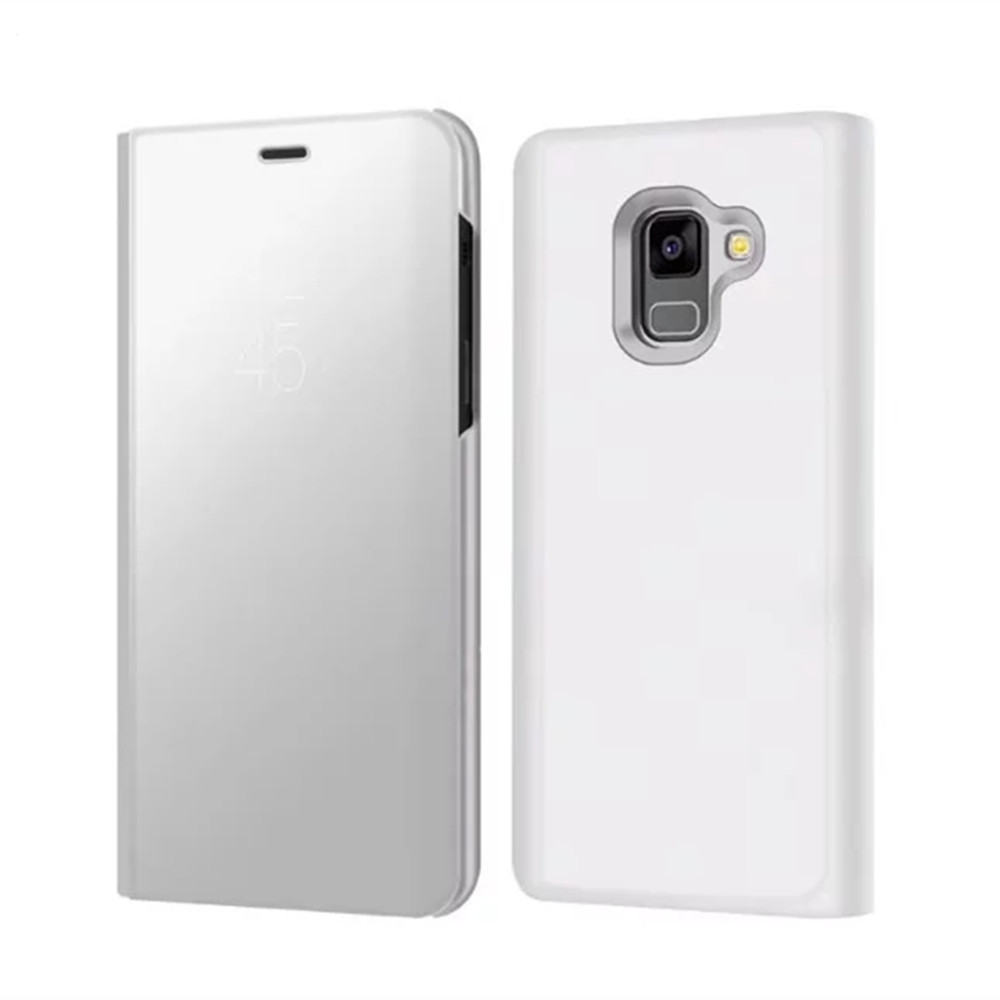 Case Cover for Samsung Galaxy A8(2018) With Stand Plating Mirror Flip Full Body