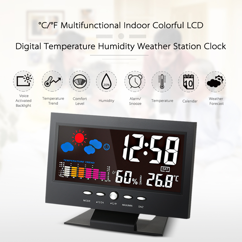Indoor LCD Digital Temperature Humidity Weather Station Clock