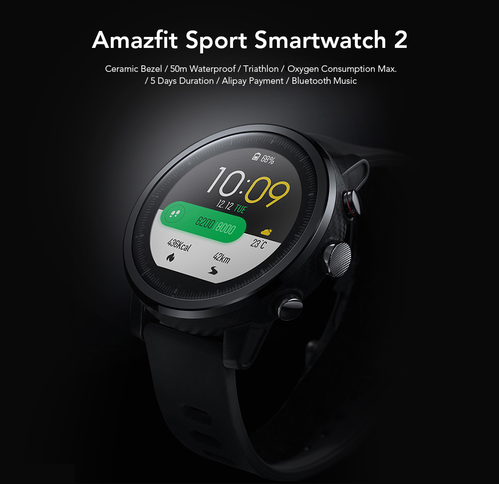 Original Amazfit Smartwatch 2 Running Watch GPS Xiaomi Chip Alipay Payment Bluetooth 4.2 Bidirectional Anti-lost for iOS / Android Phones