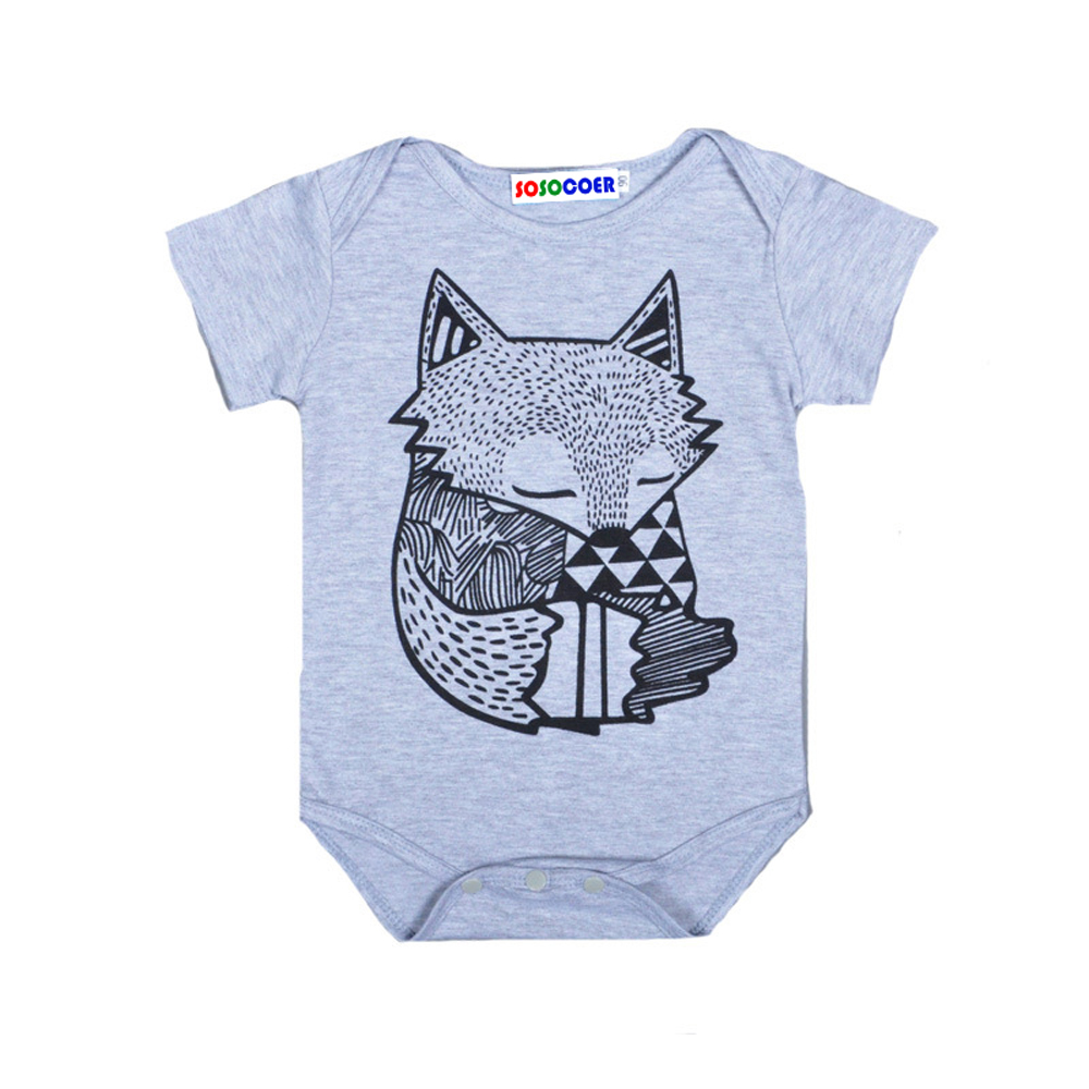 SOSOCOER Newborn Infant Bodysuits The Summer Foxs Printing Short Sleeved Baby Romper