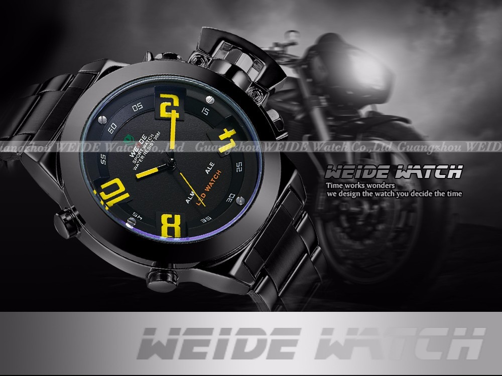 WEIDE Men Stainless Steel Waterproof Analog Digital Display Watch