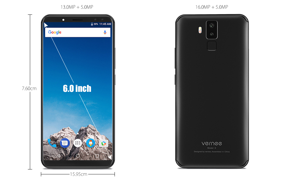 Vernee X 4G Phablet 6.0 inch Android 7.1 MTK6763 2.0GHz Octa Core 6GB RAM 128GB ROM Dual Rear / Front Cameras 6200mAh Battery
