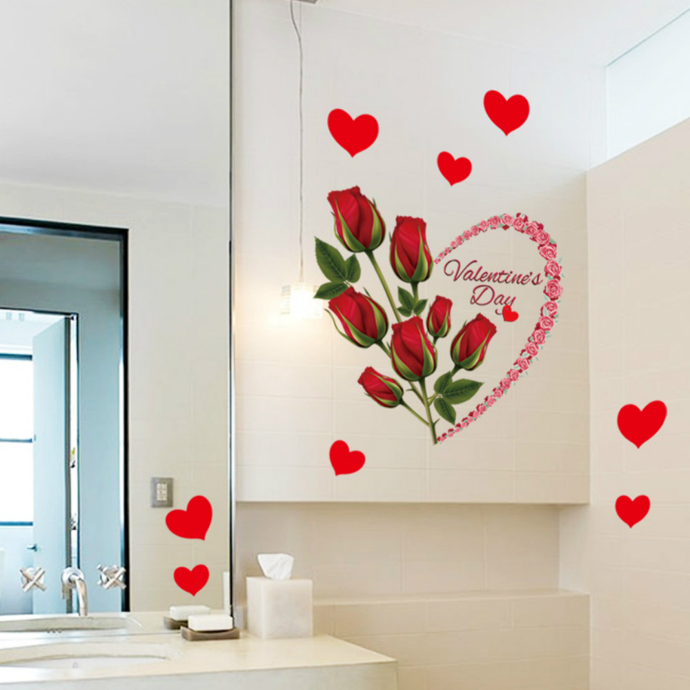 red rose wall sticker mural decal home room art decor diy romantic wedding decoration - Stickers Muraux Design Decoration