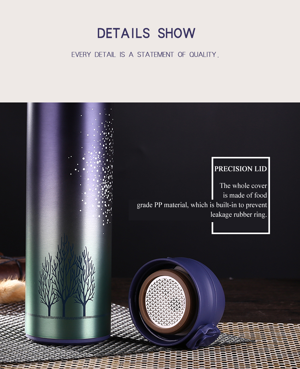 Starry Sky Pattern Double Stainless Steel Vacuum Cup 500ML- Blue Green
