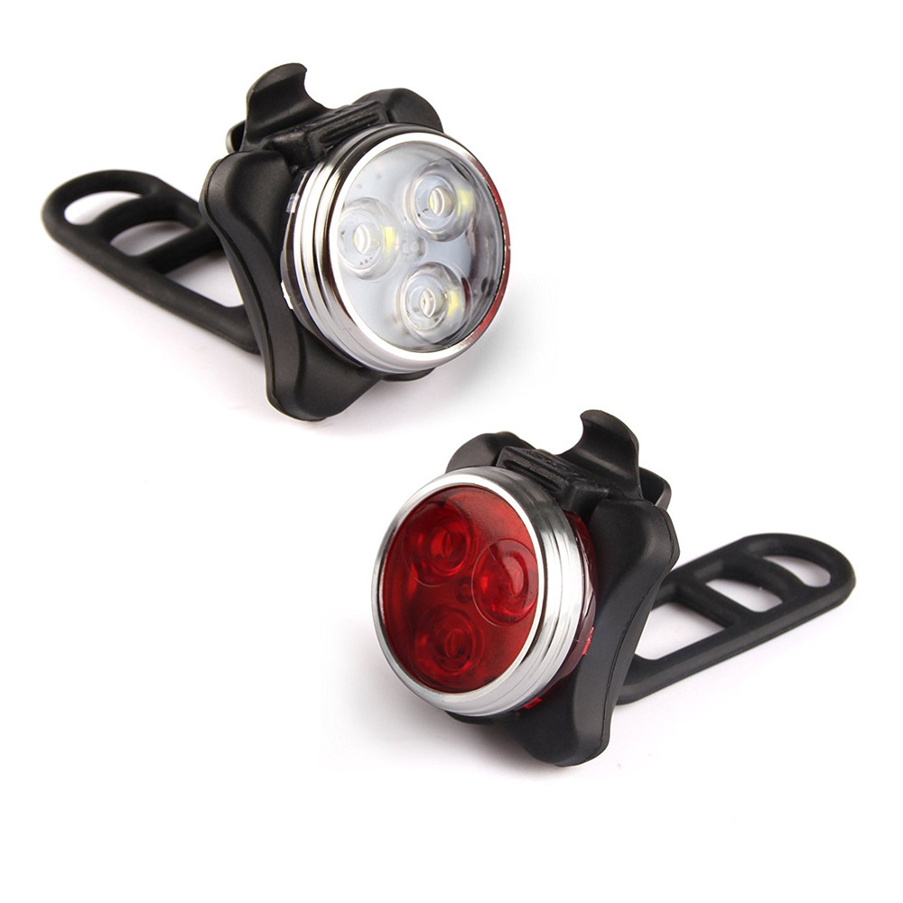 USB Rechargeable Bike Light Set Super Bright Free Rear LED Bicycle Light