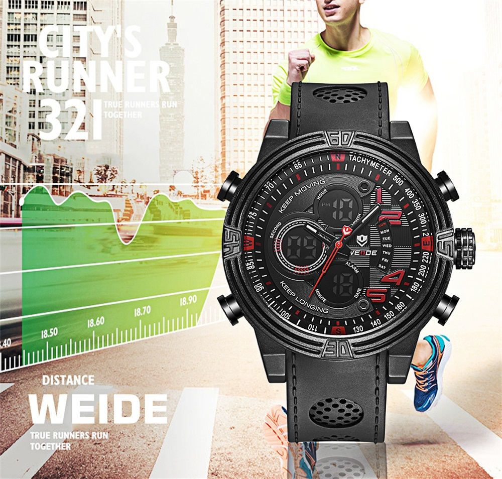 WEIDE Men 30m Waterproof Sports Watch Quartz Silicone Multi-functional Military Watches
