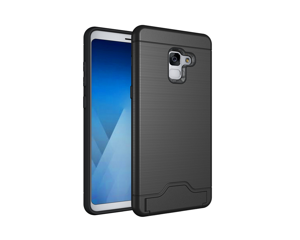 Case for Samsung Galaxy A8 Plus 2018 Card Holder with Stand Back Cover Solid Color Hard PC