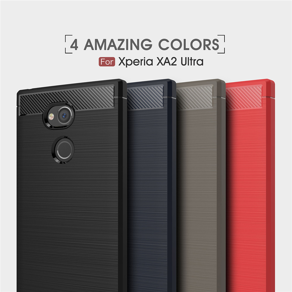 the latest 0d638 4a5fd Case for Sony Xperia XA2 ultra Shockproof Back Cover Solid Color Soft  Carbon fiber