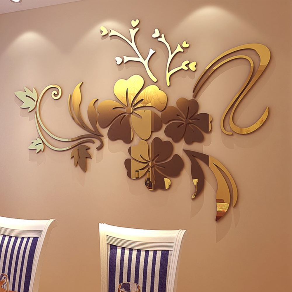 3D Stereo Flower Wall Mirror Wall Stickers- Golden