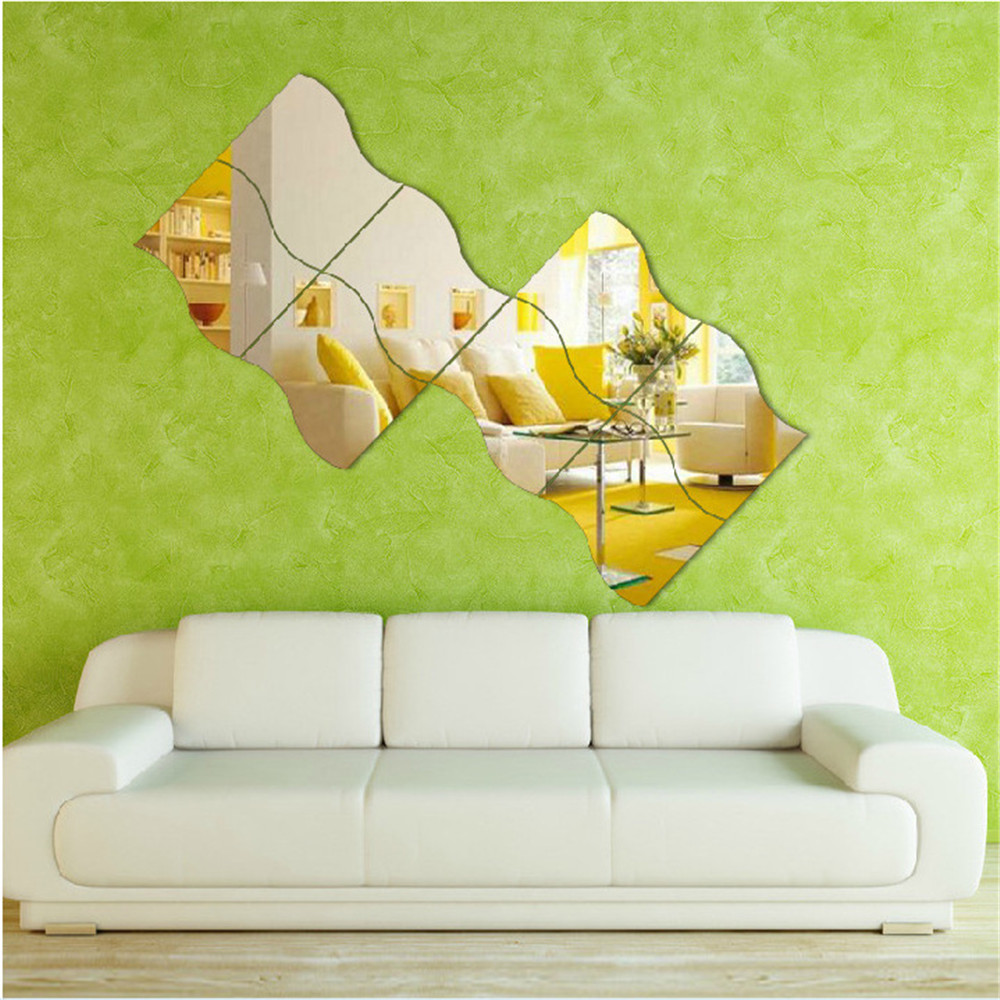 6Pc 3D Mirror Wave Shape Adhesive Wall Sticker For Living Room Bedroom Bathroom