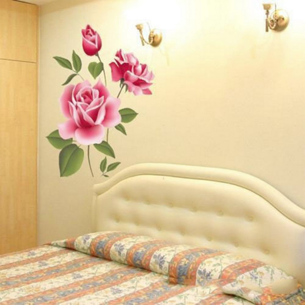 3D Rose Flower Romantic Love Wall Sticker Removable Decal Home Decor ...