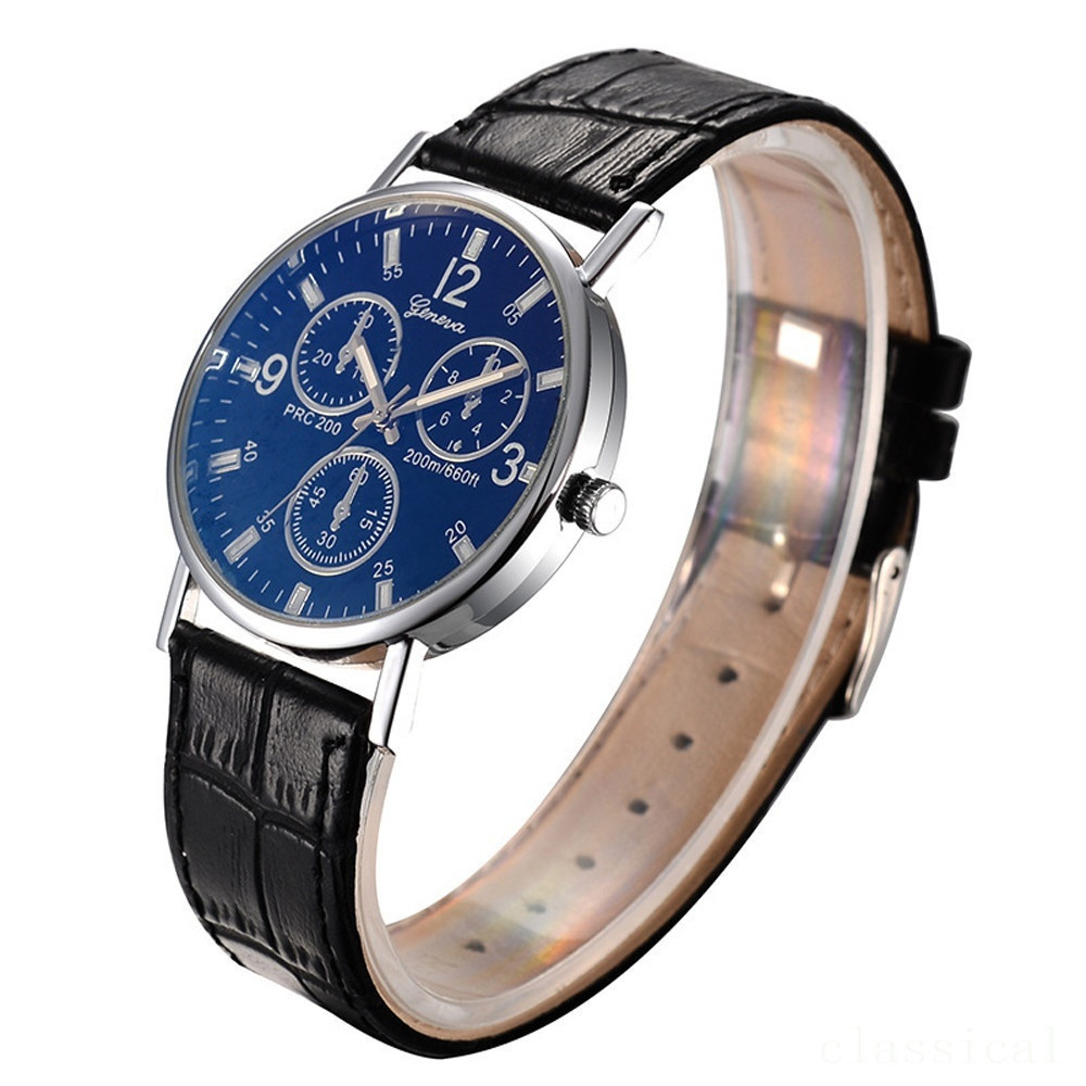 Men Casual Leather Band Waterproof Wristwatch