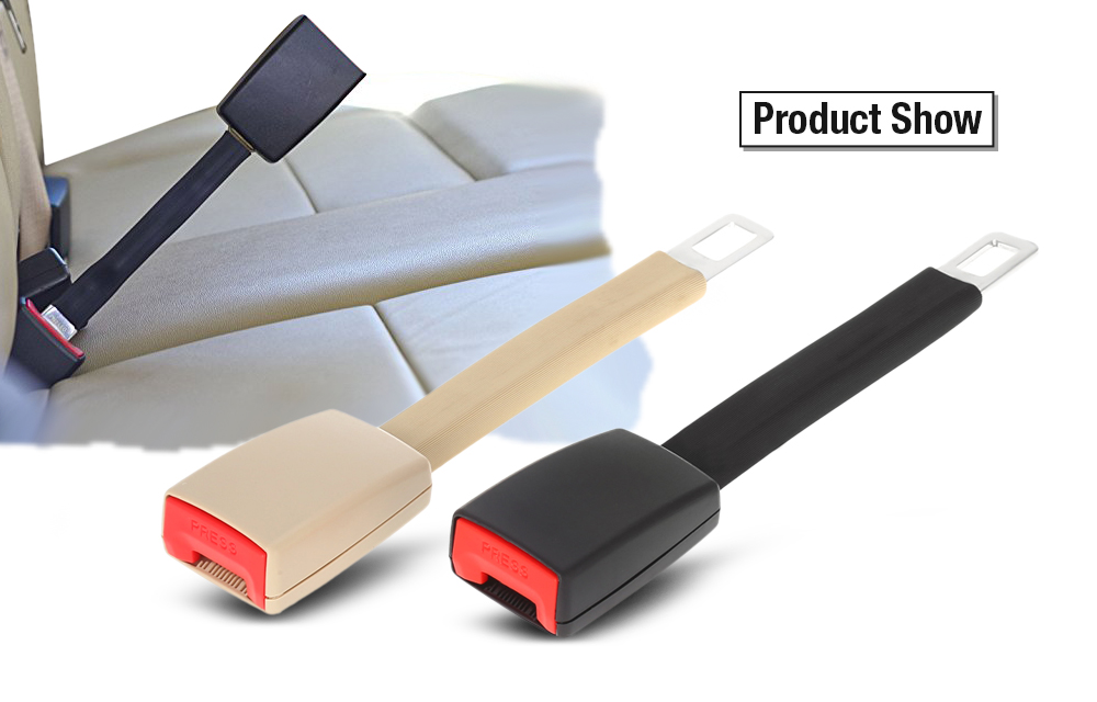 Universal 24CM Safety Car Lap Vehicle Seat Belt Extender with Metal Tongue Buckle- Beige