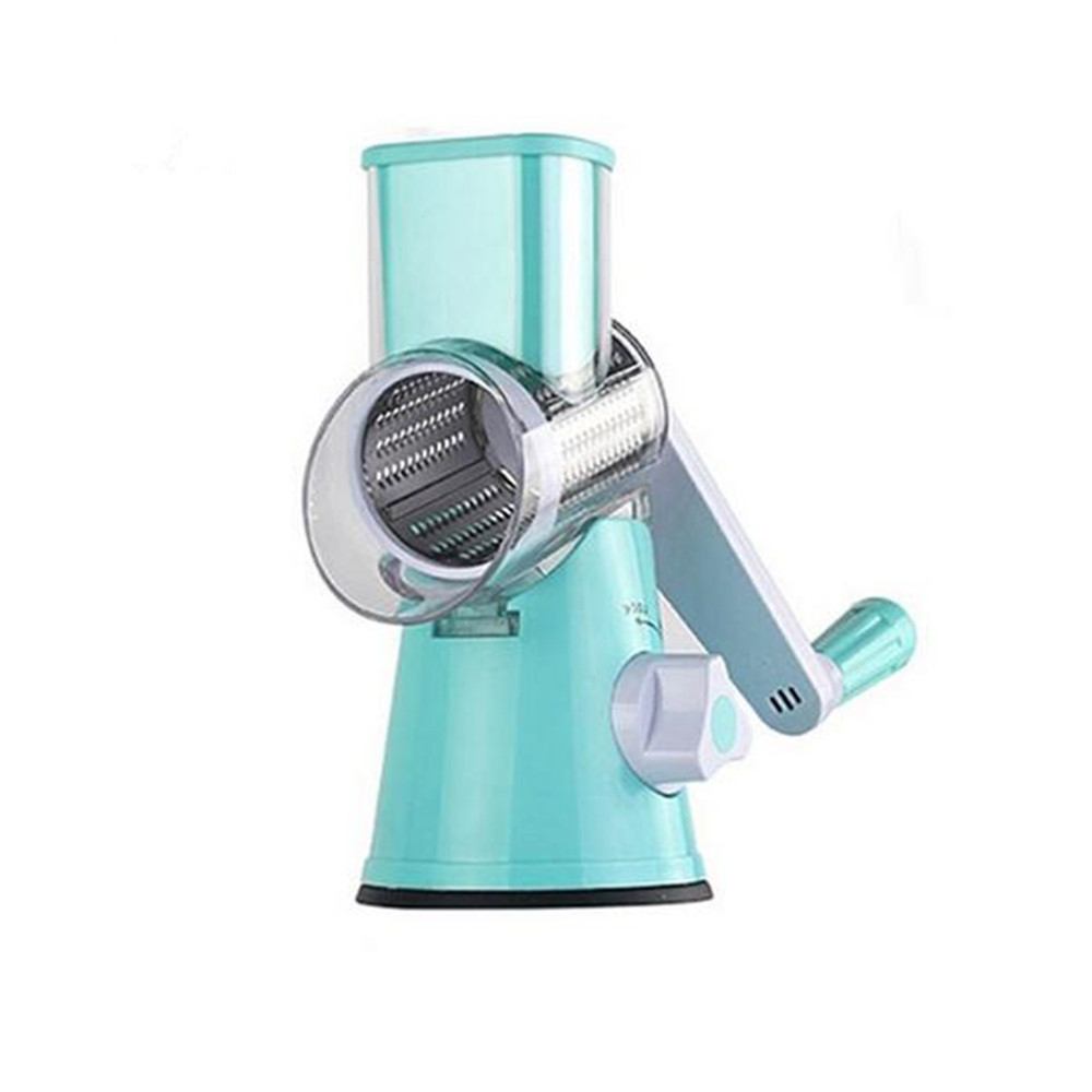 Round Mandoline Slicer Vegetable Cutter Chopper Potato Carrot Grater Slicer with 3 Stainless Steel Blades Kitchen Tool- Blue