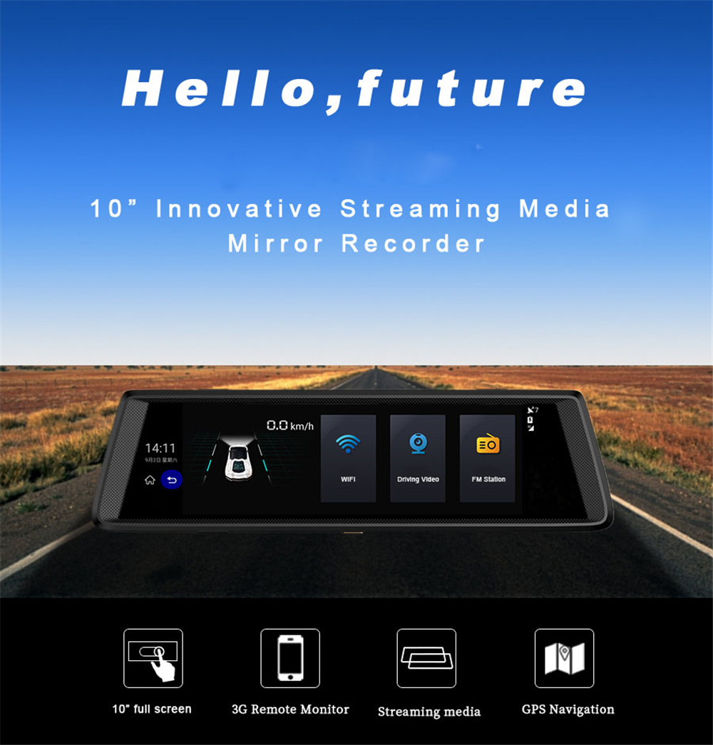 V6 10 Inch Touch Android 50 Gps Navigators Fhd 1080 P Video Channel Remote View Mobile Dvr With Shock Sensor And Wifi Antenna Recorder Mirror Wi