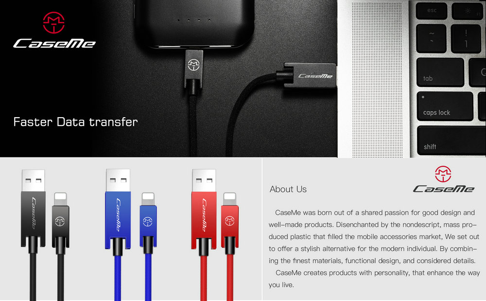 CaseMe for Apple iPhone iOS Devices 8 Pin USB Charging Data Cable Fabric Braided Cord 0.25M