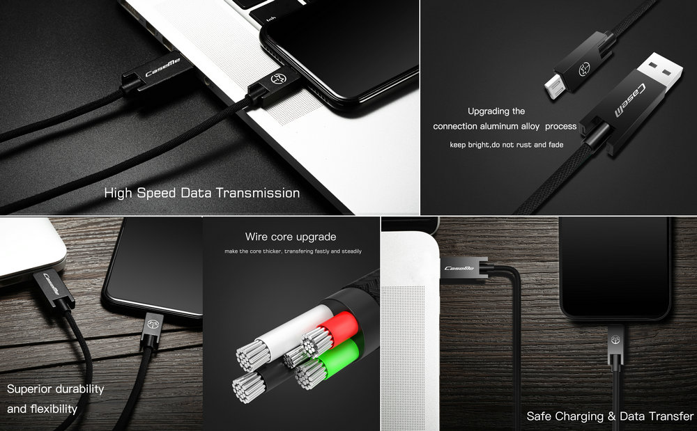 CaseMe Fabric Braided Micro USB Cable Android Charger 30% Fast Charging for Samsung and other Android Device 0.25M