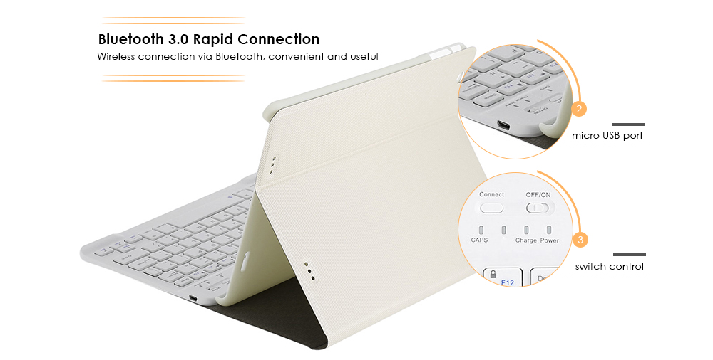 Bluetooth Keyboard with Foldable PU Leather Tablet PC Protective Case for Teclast X98 Plus II Support Bluetooth Magnetic Suction Stand Function