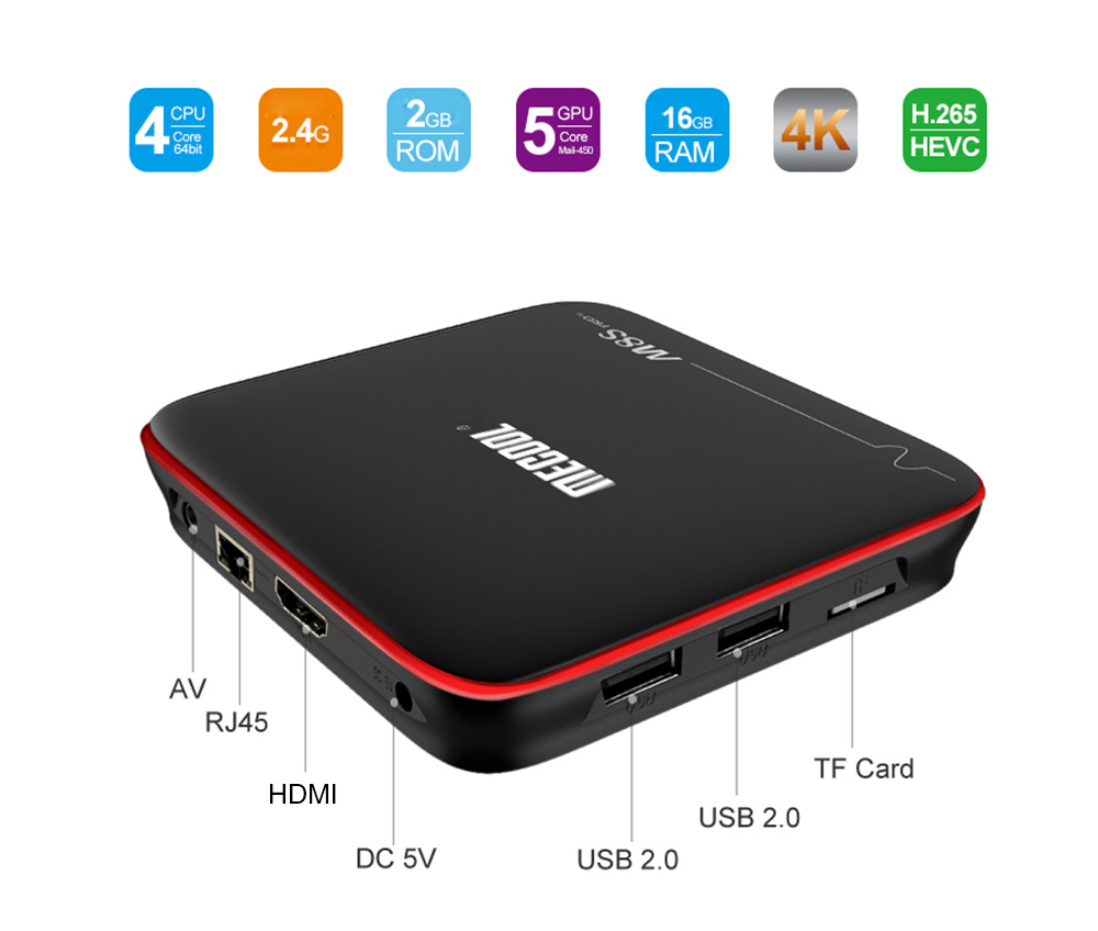 Mecool M8S PRO W 2.4G Voice Control TV Box Amlogic S905W / Android 7.1.1 / Stalker MAG625X / 4K / VP9 / H.265