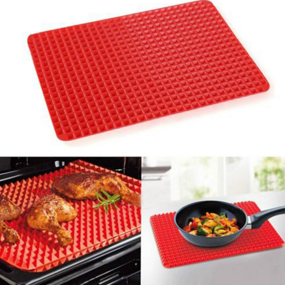 Red  Bakeware Pan Nonstick Silicone  Moulds   Cooking Mat Oven Baking Tray Sheet Kitchen   Tools- Red