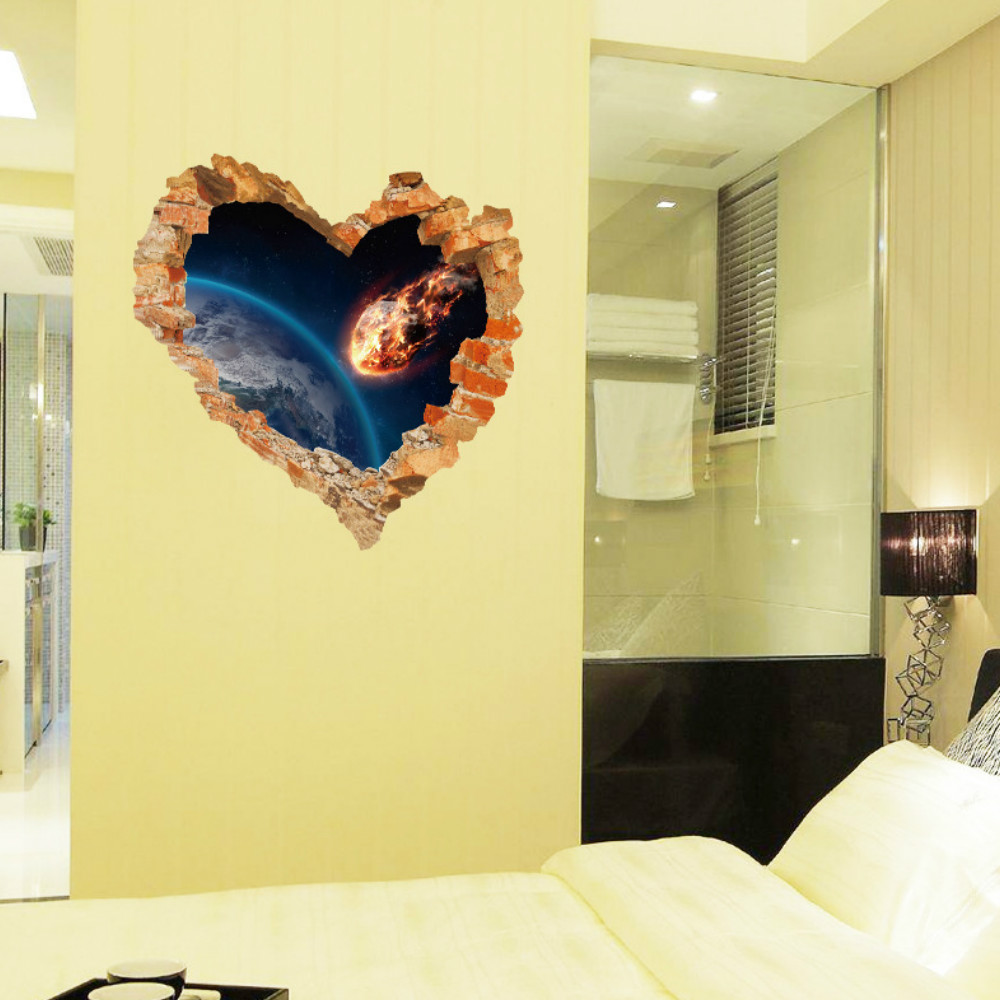 Love Heart Broken Wall Outer Space Wall Stickers Decals Art Living ...