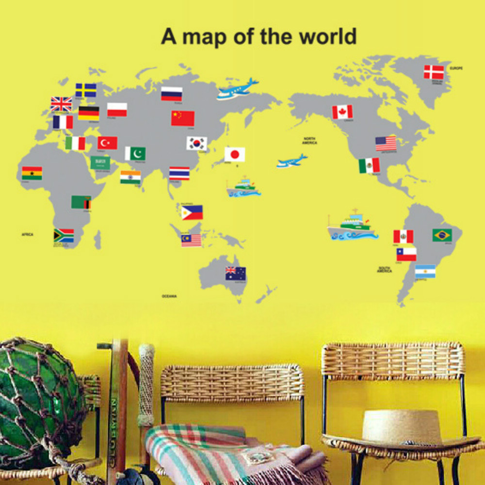 World Map Wall Stickers for Kids Rooms Living Room Home Decorations Decal  Mural