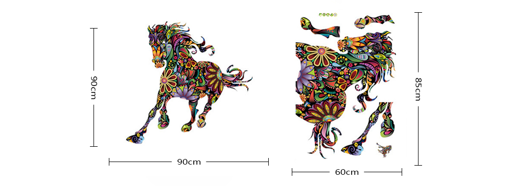 3D Ethnic Style Horse Sticker Wall Paper Room Decoration