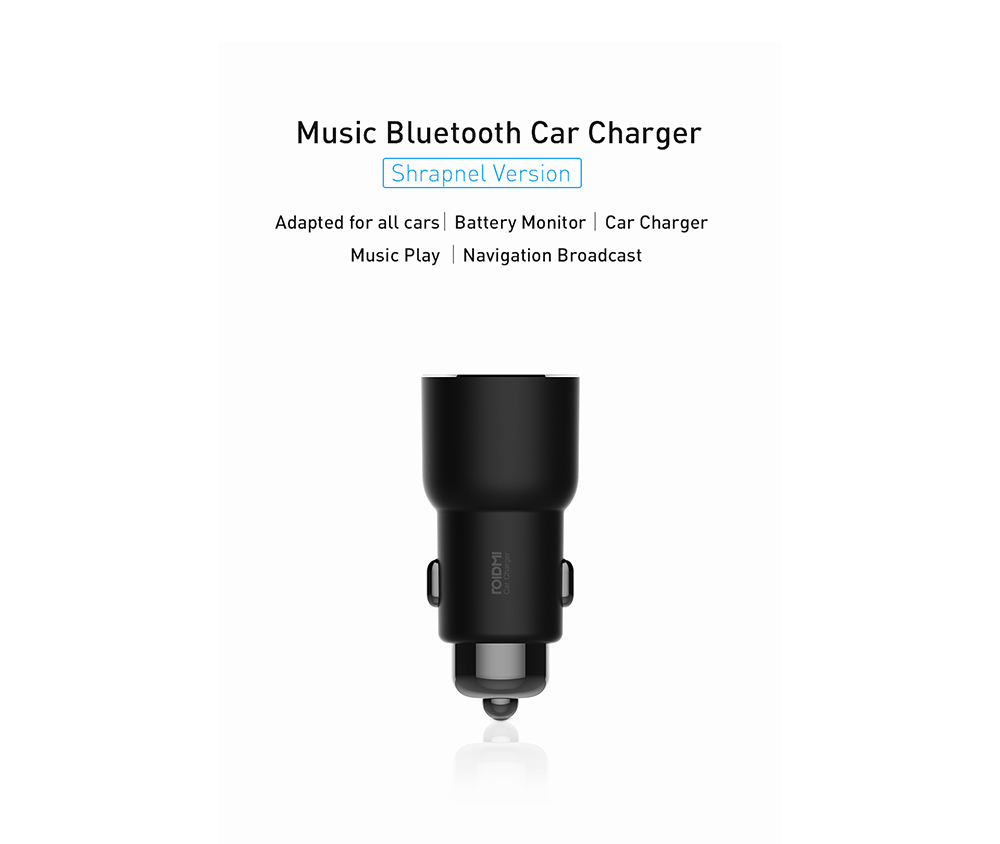 ROIDMI 3S Wireless Bluetooth Music Car Charger International Edition