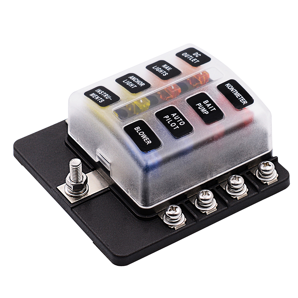 8 way 12v 24v blade fuse box holder with led warning light kit for car boat