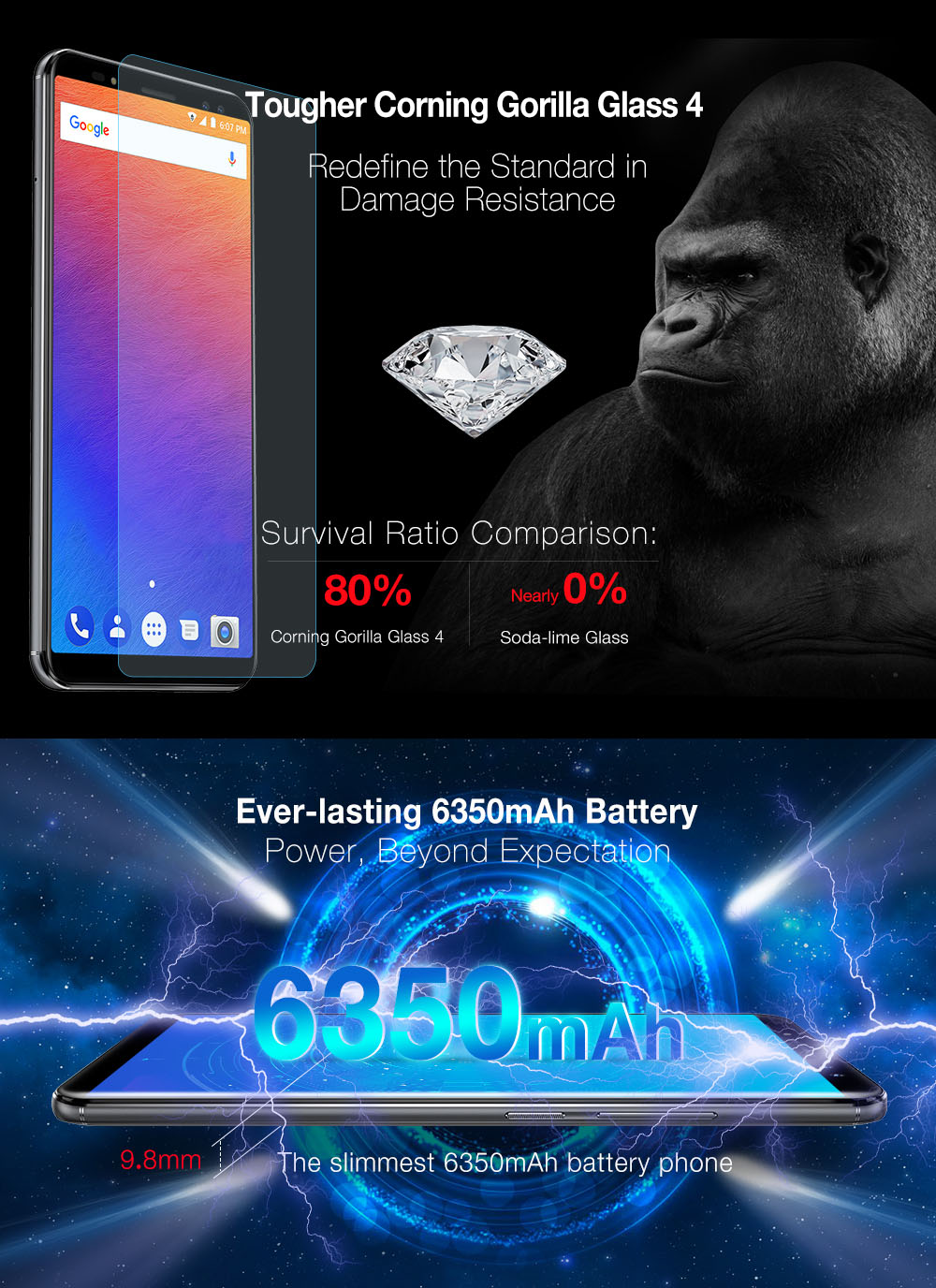 Ulefone Power 3S 4G Phablet Android 7.1 6.0 inch MTK6763 Octa Core 2.0GHz 4GB RAM 64GB ROM Quad Cameras Type-C Corning Gorilla Glass 4 Screen Face ID