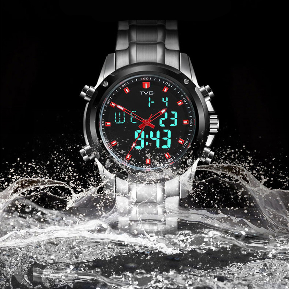 TVG KM-526 1324 Fashion Leisure Steel with Cool Outdoor Sports Electronic Quartz Watch