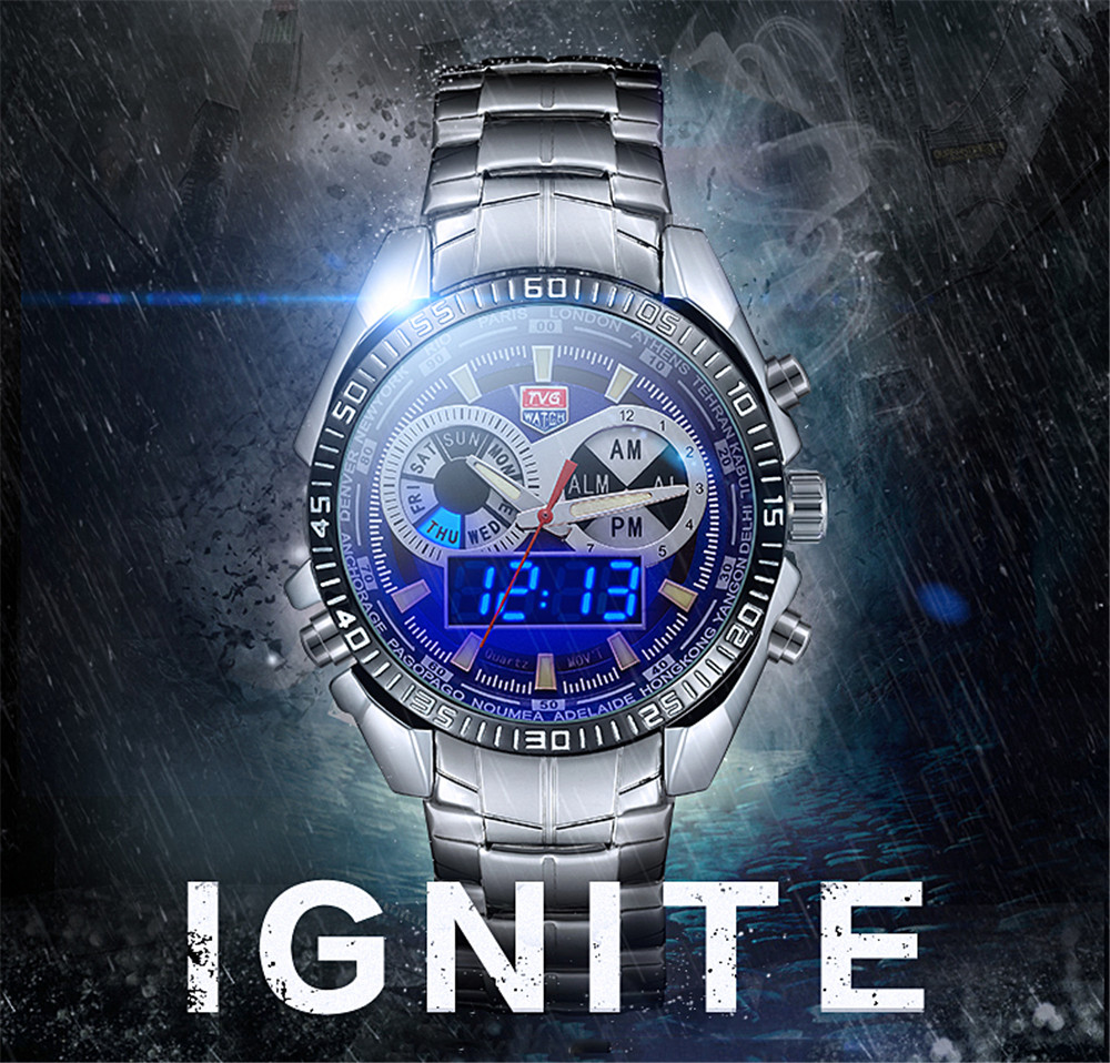 TVG 568 3746 Leisure Fashion Night Light Shows The Cool Outdoor Sports Electronic Quartz Watch