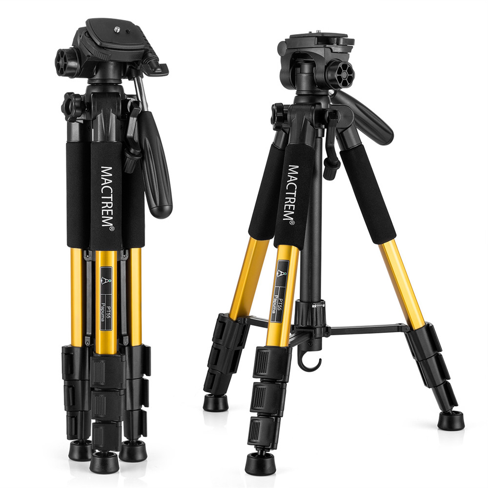 Camera Tripod Aluminum Lightweight Compact Travel Tripod with Pan Head and Carry Case for Digital SLR Canon Nikon Sony Olympus Samsung DV Video Projector