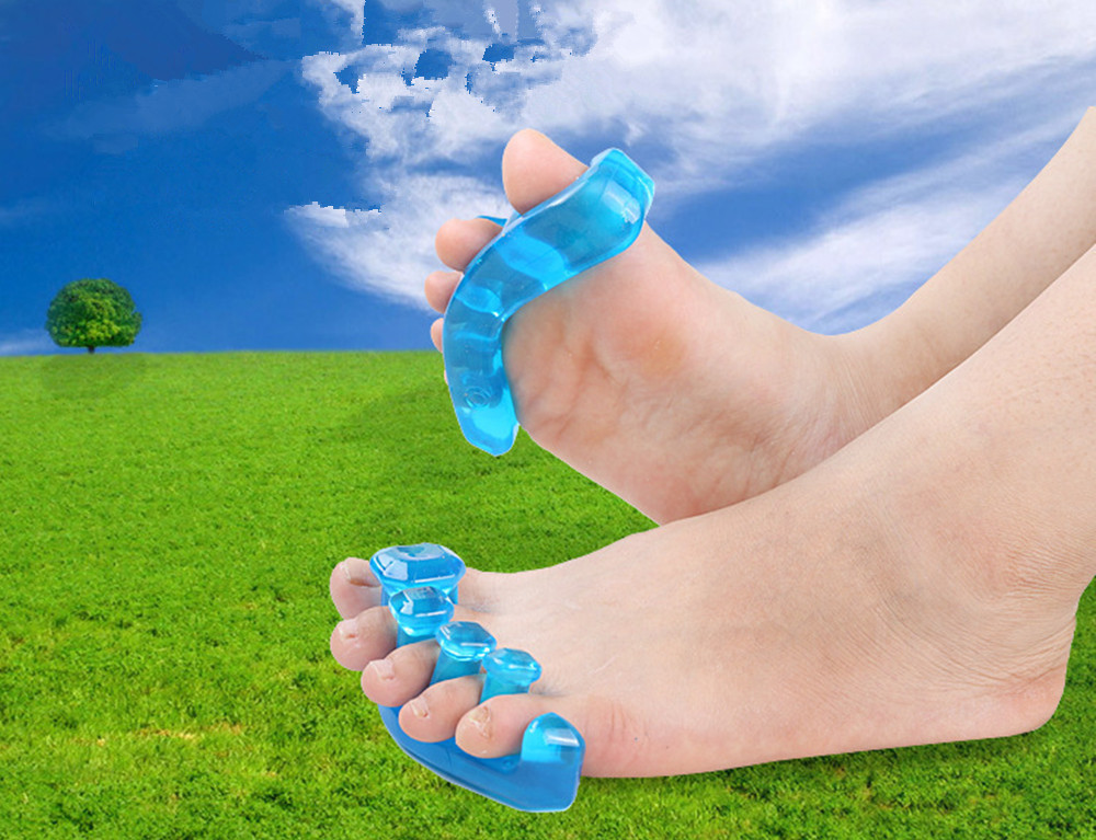 Yoga Toes Gel Stretcher Separator Instant Therapeutic Relief For Feet Fight Bunions Hammer- Blue L