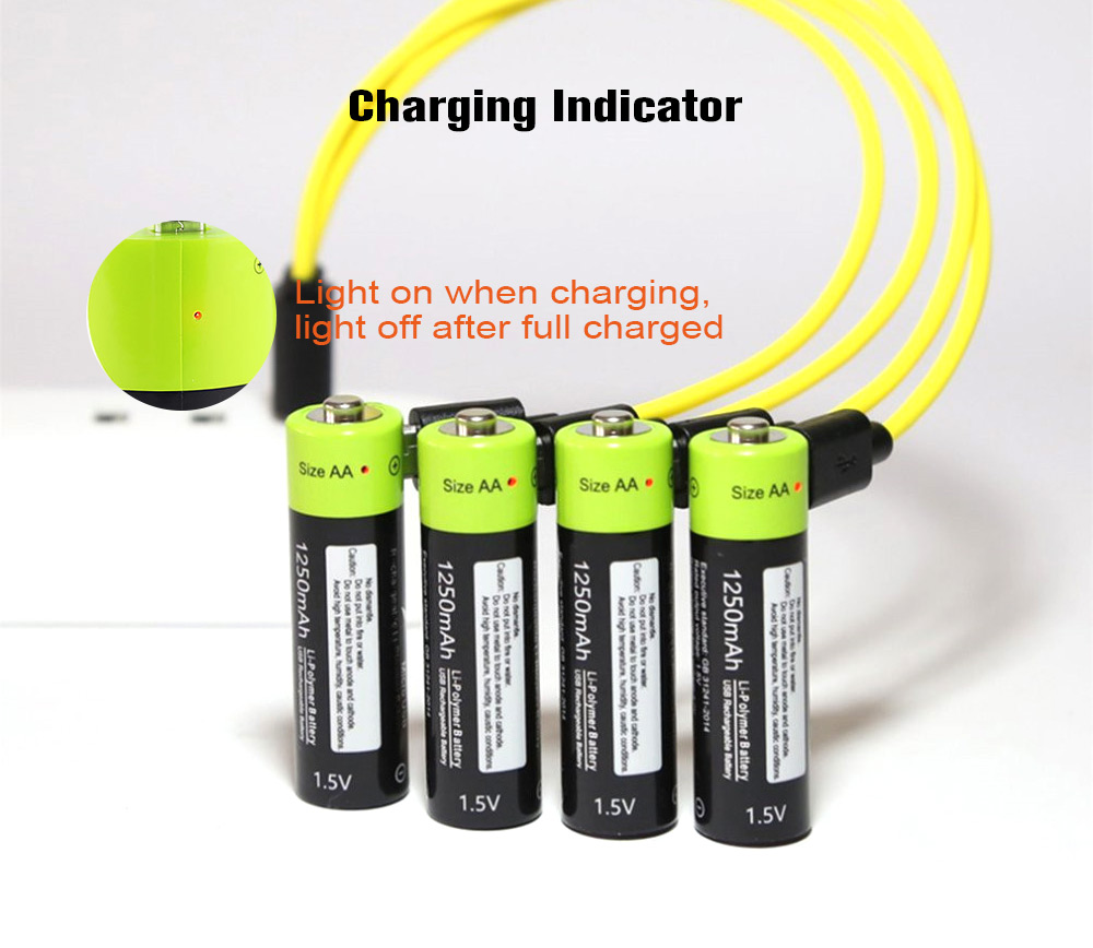 ZNTER Li-polymer AA Battery USB Direct Charging Portable 1.5V 1250mAh 2PCS