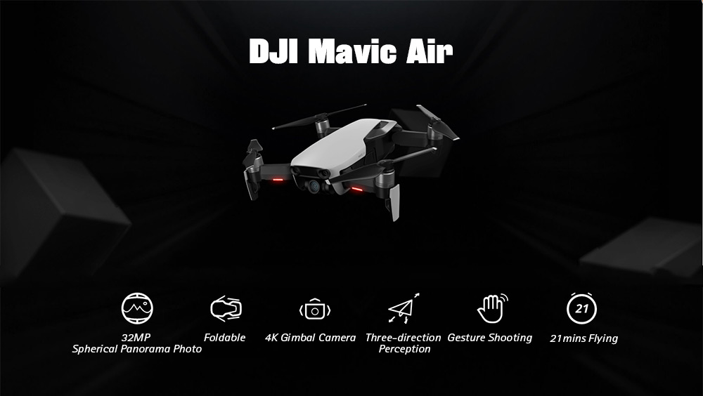 DJI Mavic Air RC Drone 32MP Spherical Panorama Photo / Foldable / 4K Gimbal Camera / Three-direction Perception / Gesture Shooting- Black Fly More Combo/CN Plug